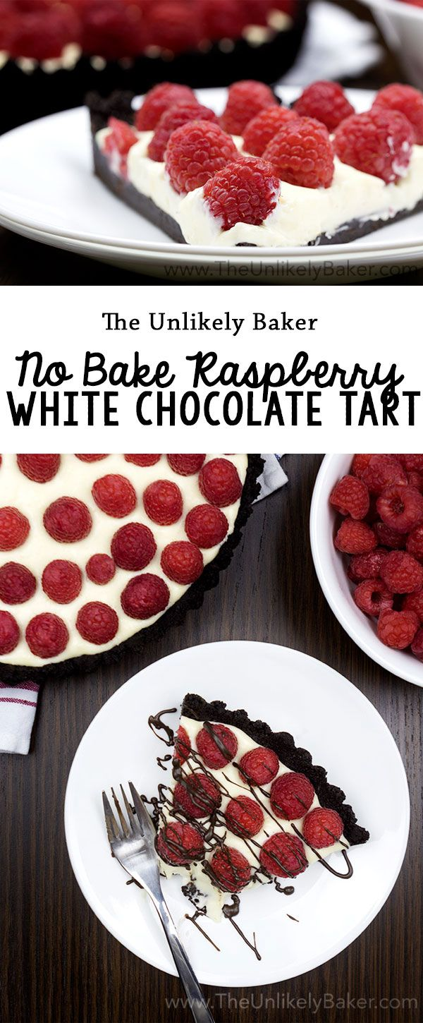 Chocolate cookie crust, white chocolate mascarpone filling, fresh raspberry topping. This no-bake raspberry white chocolate tart is an awesome summer treat!