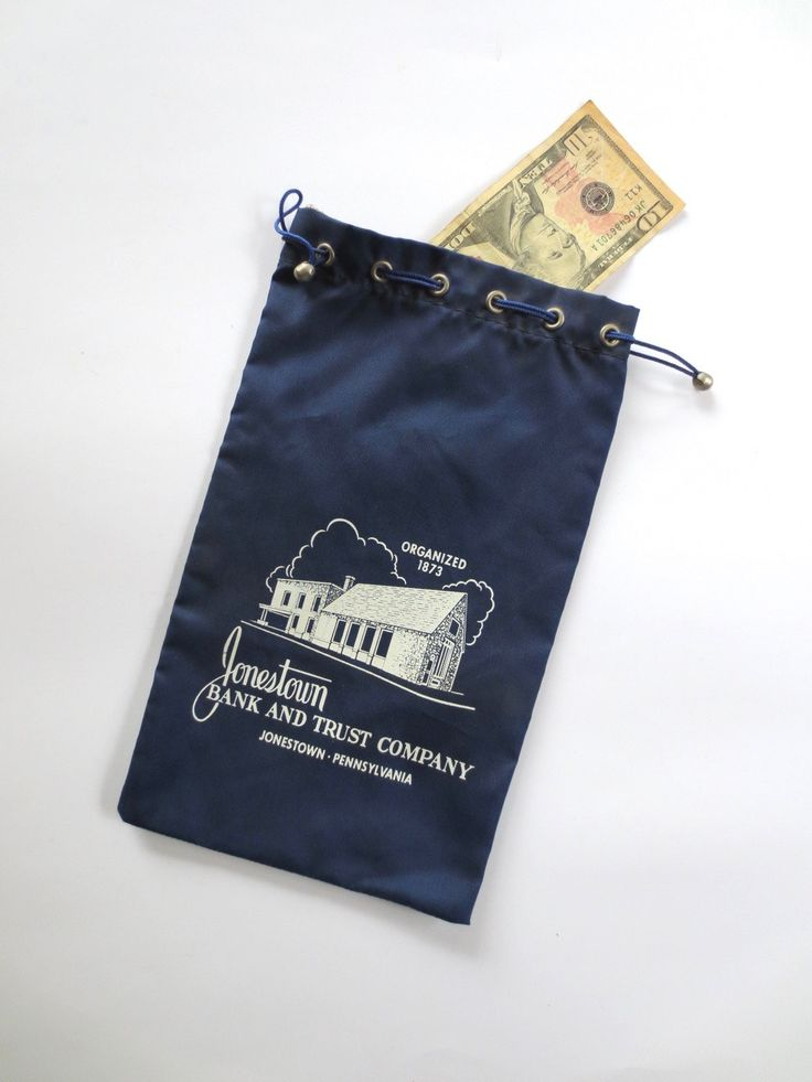 Jonestown Bank deposit bag, 50s blue cloth bank bag, cash deposit bag, retro drawstring, 70s money bag, mad money, Jackpot Jen vintage by JackpotJen on Etsy