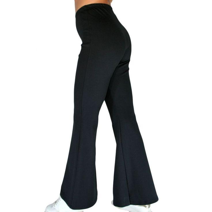 ZINO JORDAN Γυναικείο ελαστικό μαύρο ψηλόμεσο κολάν παντελόνι καμπάνα