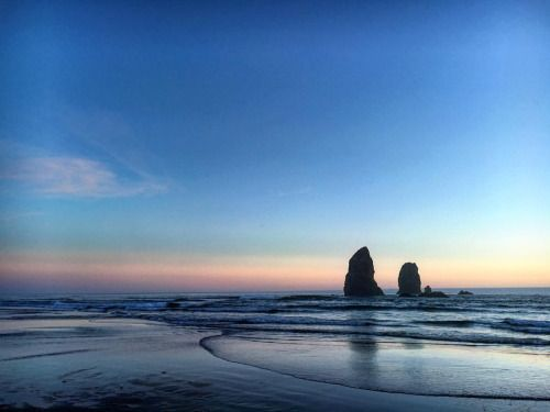 The Needles at sunset at Cannon Beach Oregon....