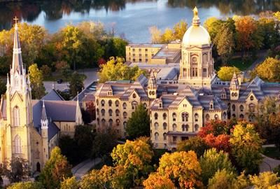 University of Notre Dame  University of Notre DameNotre Dame, IN, USA. Immerse yourself in the history and tradition that is the University of Notre Dame! Free tours every weekday. Attend Mass at the Basilica. Light a candle at the Grotto of Our Lady of Lourdes. Take a photo with Touchdown Jesus on Hesburgh Library. Feed the ducks at St. Mary's Lake. IN, USA