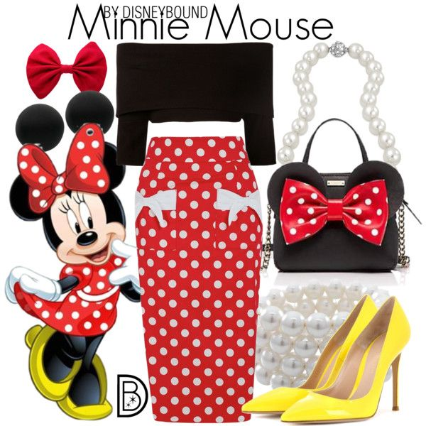 Minnie Mouse by leslieakay on Polyvore featuring Dorothee Schumacher, Gianvito Rossi, Kate Spade, Carolee, Bling Jewelry, Thomas Sabo, disney, disneybound and disneycharacter