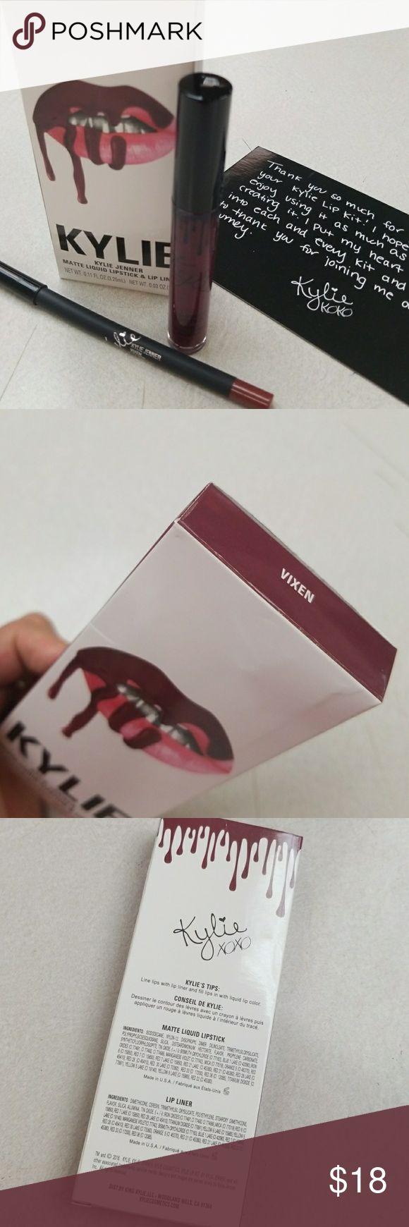 Vixen | Lip Kits Authentic Kylie Jenner matte liquid lipstick and lip liner kit. Color: Vixen (blackened vampy plum)  Kit contains: 1 matte liquid lipstick  1 pencil lip liner Kylie Cosmetics Makeup Lipstick