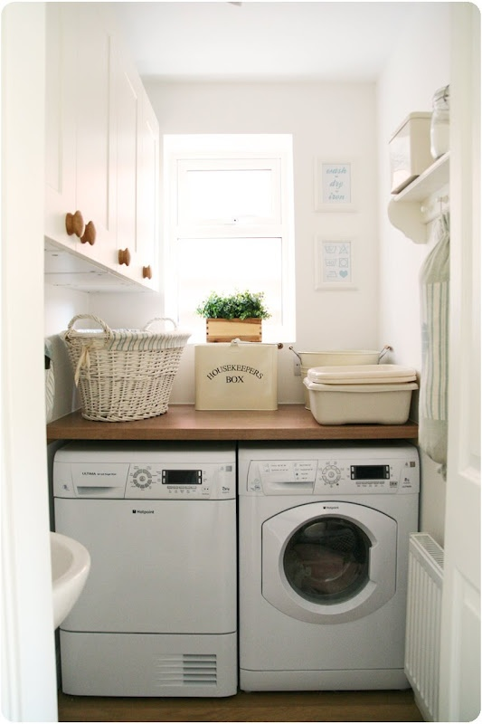 Good idea for a laundry shelf. I wonder if a sewing machine with a pull out work bench could make good use of the space??? Hmmm...