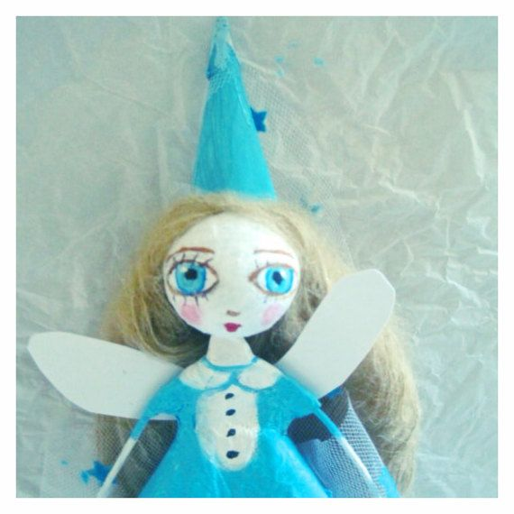 OOAK doll fairy fée papier mâcheunique art par MlleCelesteArtdoll