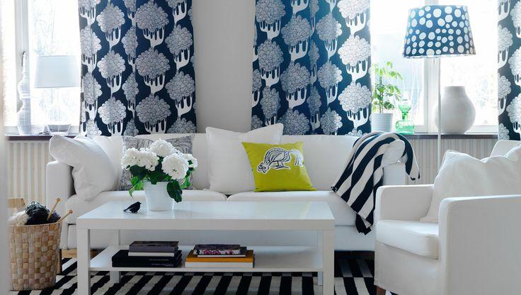 Ikea sterreich inspiration wohnzimmer karlstad 3er sofa mit bezug blekinge in wei und - Gardinenschals wohnzimmer ...