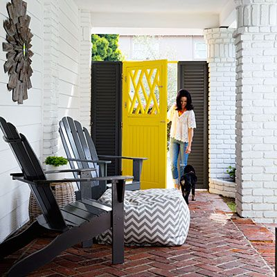 A daisy yellow door brings a ray of sunshine home.