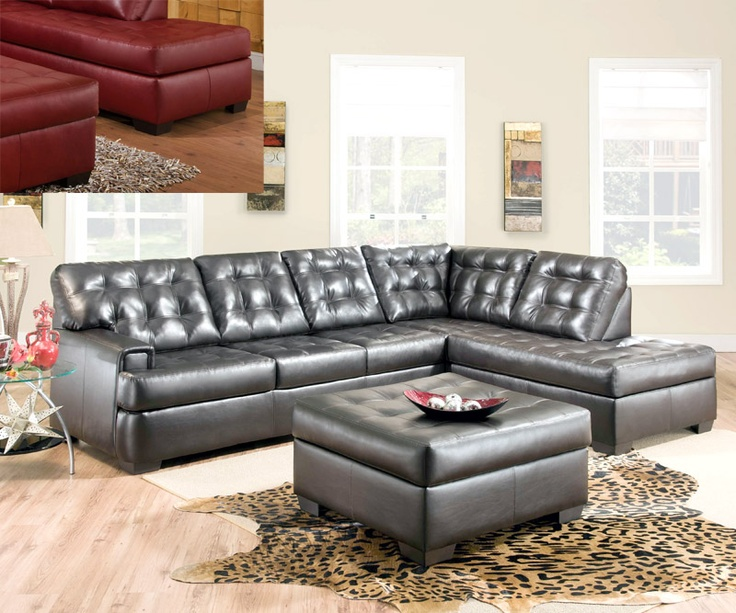 $1169 for sectional New Soho sectional with bump chaise in ether Granite or Espresso leather. Brand Name Simmons Upholstery Co. Collection Name u2026 : simmons 2 piece sectional - Sectionals, Sofas & Couches