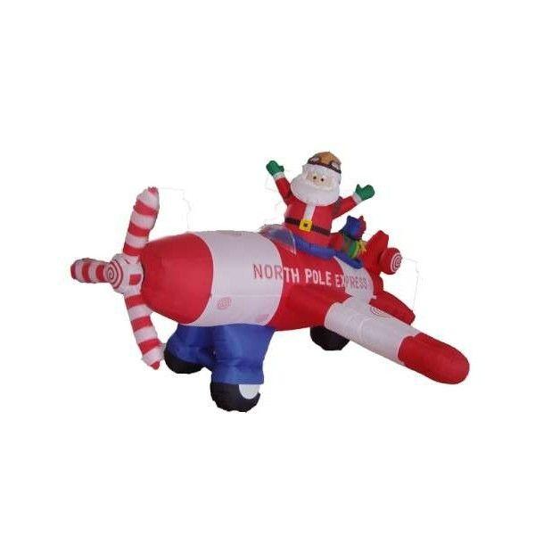 8' Inflatable Animated Santa Flying Plane Lighted Christmas Yard Decor
