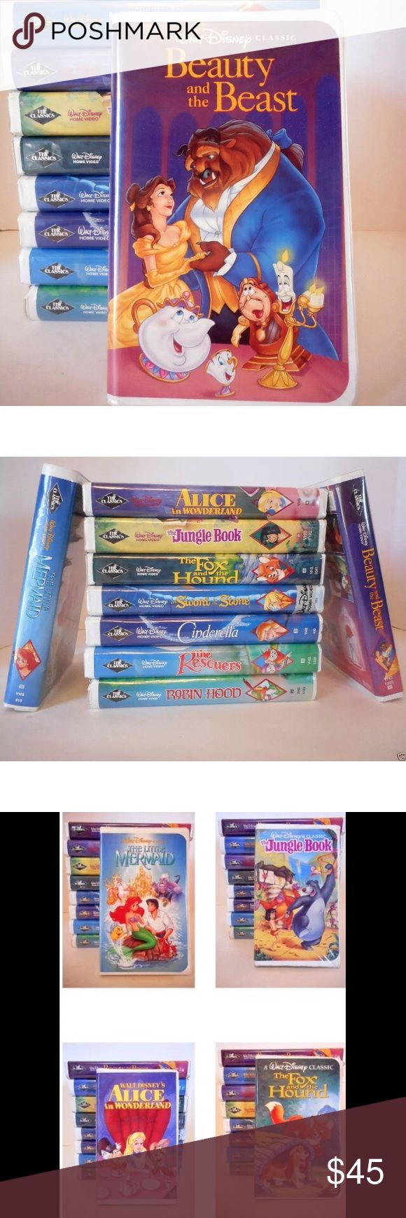VHS Black Diamond Edition Classic Disney Videos Beauty and the Beast & other VHS Black Diamond Edition Classic Disney Videos Lot Walt Disney Black Diamond Classic VHS Video Lot - Set of 9  Includes: Beauty And The Beast The Little Mermaid Alice In Wonderland  Cinderella The Jungle Book Fox And The Hound Robin Hood The Sword and the Stone The Rescuers Disney Other