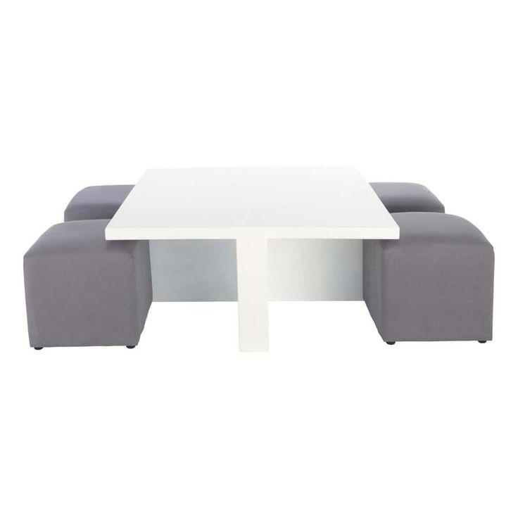 Table basse carrée blanche et 4 tabourets