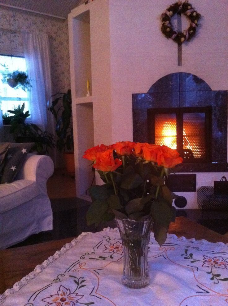 Fireplace and roses 2014