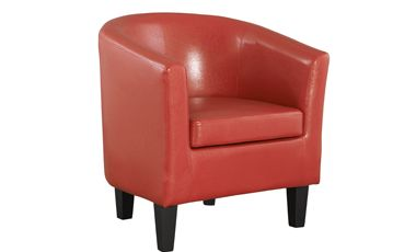 Colby Chair- The Colby is a comfortable and stylish faux-leather tub chair with a nod to the vintage look of the 70s