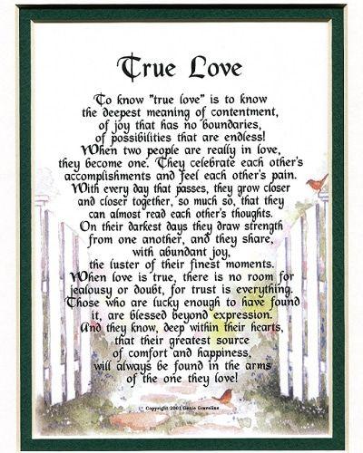 True Love Poem - Anniversary Gifts for Boyfriend