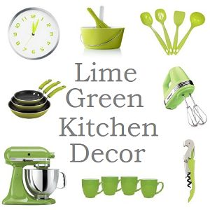 Collection of lime green kitchen accessories. #limegrkitchen