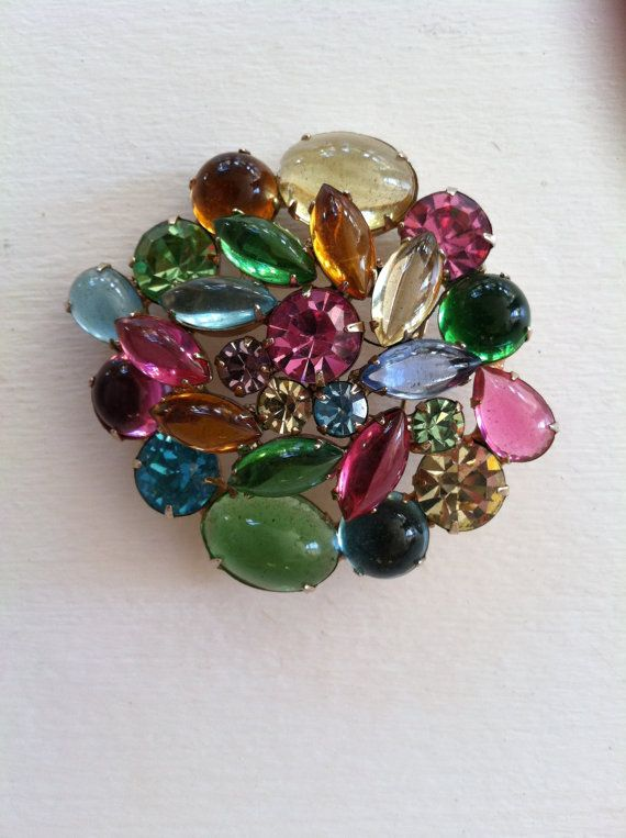 Circa 1960's Hattie Carnegie Colored Rhinestone & Cabochon Gemstone Brooch Shabadashery. Antiques and Collectibles in Troy, New York.