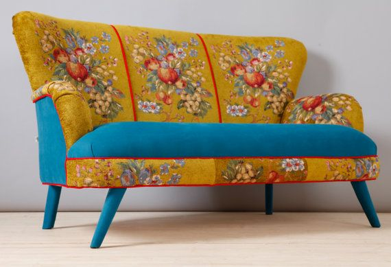 Handmade two seater sofa upholstered with best quality Gobelin and turquoise velvet fabrics mix