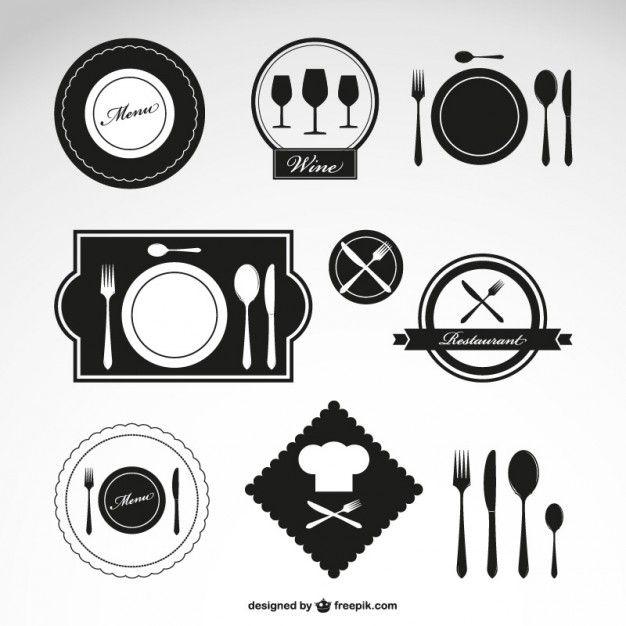 Símbolos vetor restaurante definidos Vetor grátis