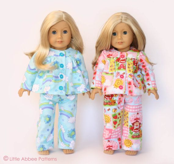 Download Now SEWING PATTERN 18 Doll Pajamas PDF 72 by littleabbee