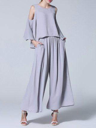 Gray Plain Ruffled Casual Jumpsuit