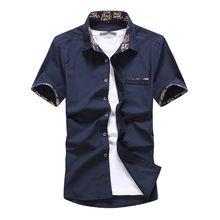 2017 Lato Stylu Mężczyzna Koszula Moda Marka Odzież Jednolity Kolor Koszula Mężczyzna Schudnięcia Napadu Skrótu Rękawa Koszula IKONY konieczne(China (Mainland))