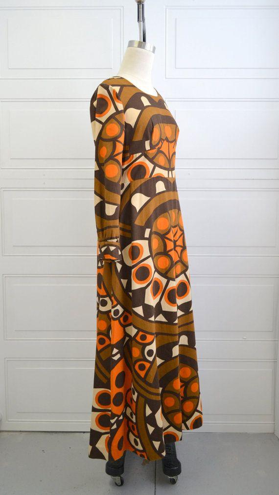 década de 1970 Kaisu Heikkilä Maxi vestido por BlackbirdAntiquesNC