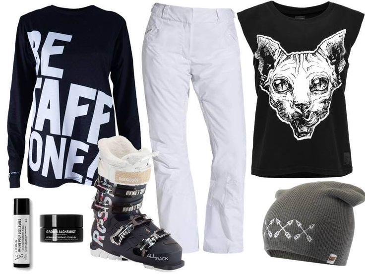 Łącząc ze sobą czerń, biel i szarość możemy skompletować zimowy strój narciarski pasujący do naszego codziennego stylu. Warto zwrócić uwagę na to aby rzecz  #funandrebel #media #streetwear #piekuo #stylizacje #stok #sport #zimowestylizacje #moda #tshirt #koszulka #polskidesign