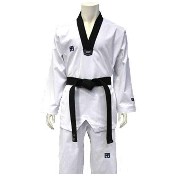 TKD Suits Mooto 3F Unisex Uniform Taekwondo White Dobok Black V Neck Waist Line #Mooto