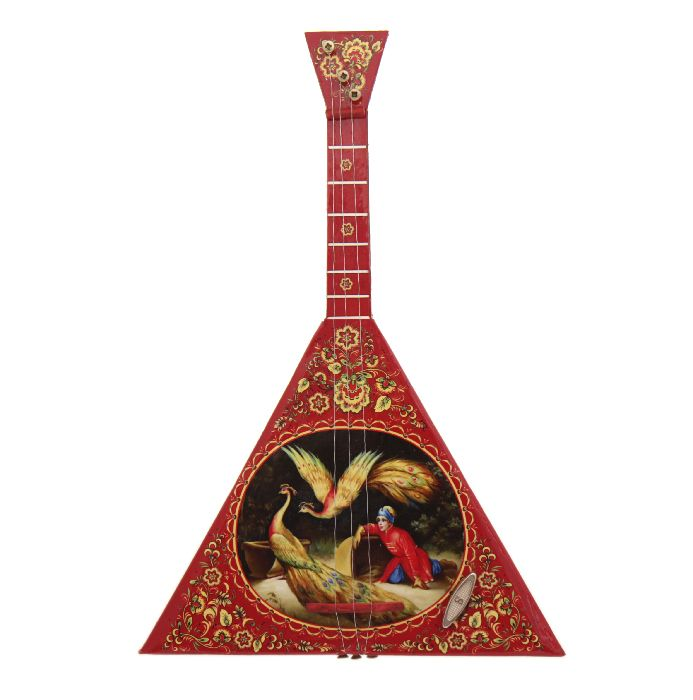 Russian balalaika with fire bird and pic from Fairy tale