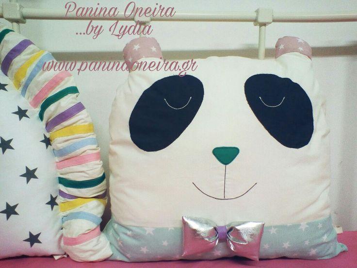 Handmade panda pillow for baby's bed! (Panina Oneira sewing art & decoration)