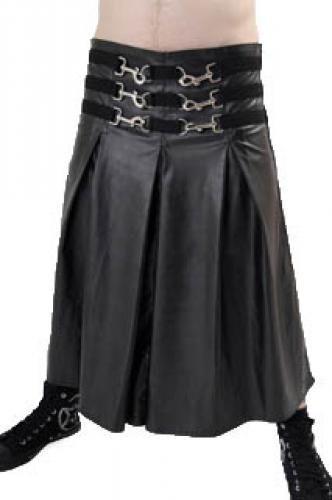 MSKSC01 - MENS SPRING CLIP LEATHER LOOK PVC SKIRT | Skirts & Kilts | Phaze Clothing