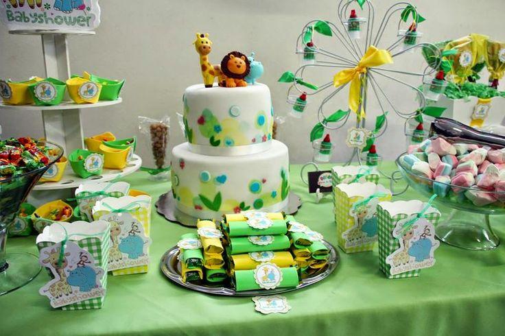 Mesa de dulces botanas y pastel personalizado para for Mesa dulce para baby shower