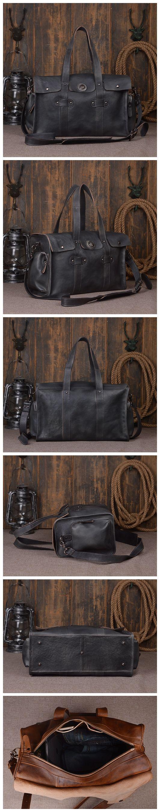 "Mens Leather Travel Bag Business Travel Luggage Bag 9035 Model Number: 9035 Dimensions: 16.5""L x 6.7""W x 9.8""H / 42cm(L) x 17cm(W) x 25cm(H) Weight: 3.5 lb / 1.6kg Hardware: Brass Hardware Shoulder St"