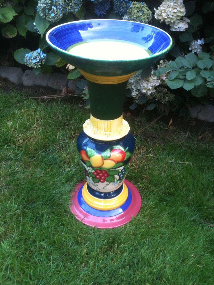 245 best bird baths images on pinterest glass garden for Garden ornaments from recycled materials