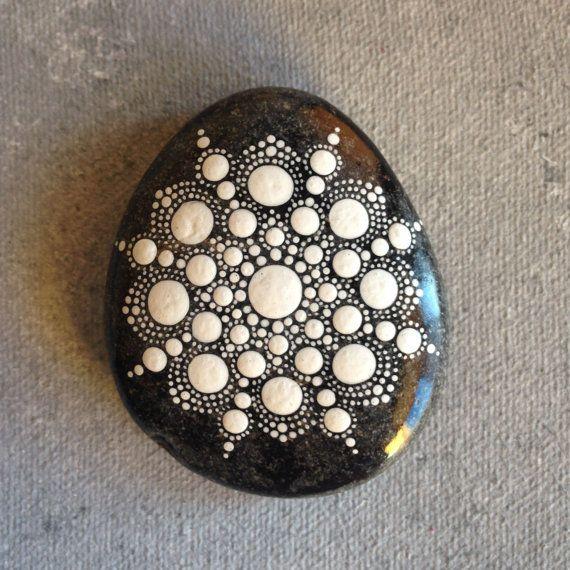 Dot Art Mandala Painted Stone White Gift Decoration Painted rock Beachstone Create And Cherish White dots