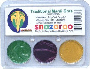 Snazaroo Traditional Mardi Gras Face Paint Kit by Snazaroo. $6.26. Snazaroo face paint.. Safest face paint for children and adults alike!. Easy to wash off.. SNAZAROO theme packs - each kit will paint 10 to 15 full faces. This kit contains 2ml of each color - gold, purple and green.