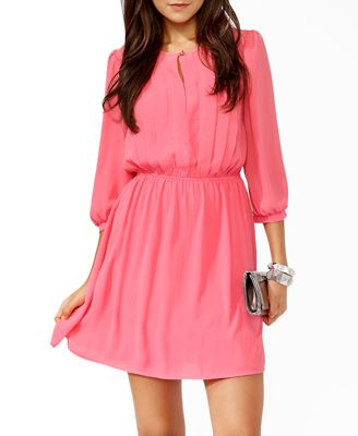 "Model Info:Height: 5'9"" | Bust: 32 | Waist: 26 | Hip: 34 |   Wear Size: Small             Forever21  Pintucked 3/4 Sleeve Dress"