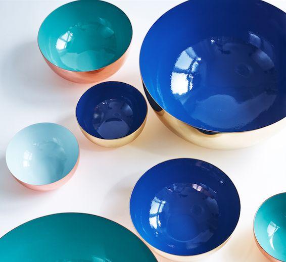Louise Roe Copenhagen AW15 Enamel bowls in coppper and brass. Certified as foodsafe.