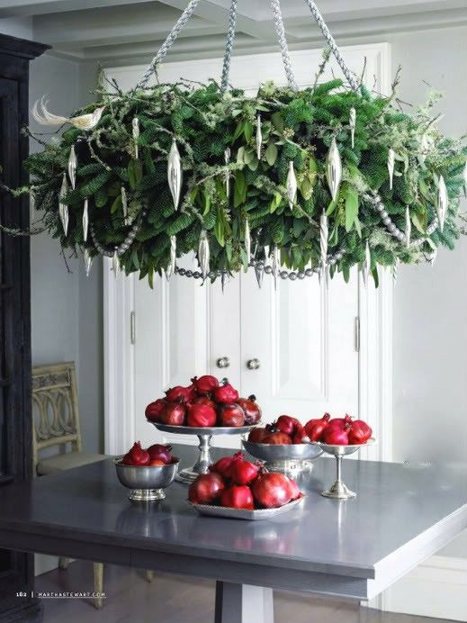 Fabulous. christmas chandelier wreath greenery ornaments