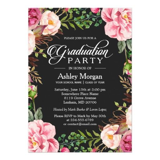 Personalize Modern Classy Typography Floral Graduation Party Card Invitation @zazzle
