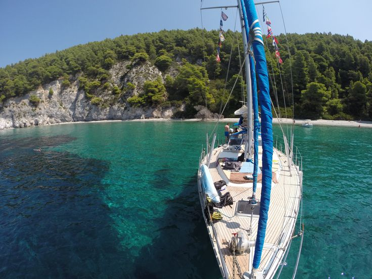anchored at the stunning Mamma Mia bay - Skopelos island