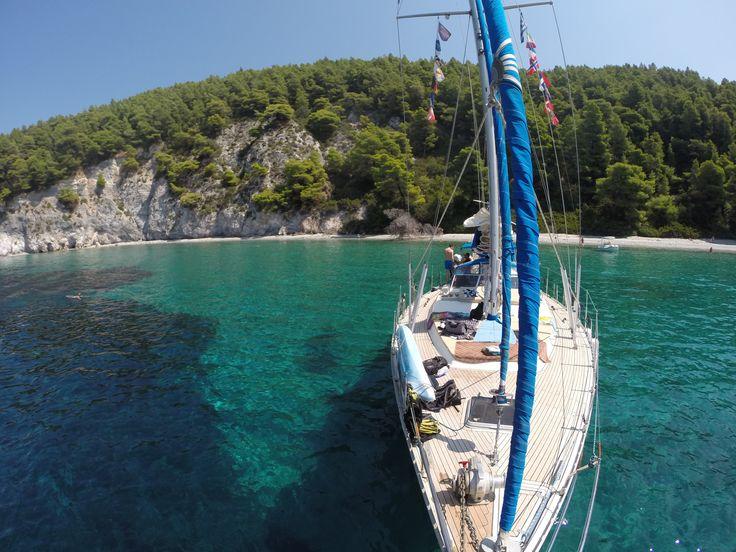 anchored at the stunning Mamma Mia bay - Skopelos island