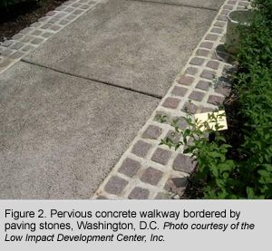 Figure 2. Pervious concrete walkway bordered by paving stones, Washington, D.C. Photo courtesy of the Low Impact Development Center, Inc.