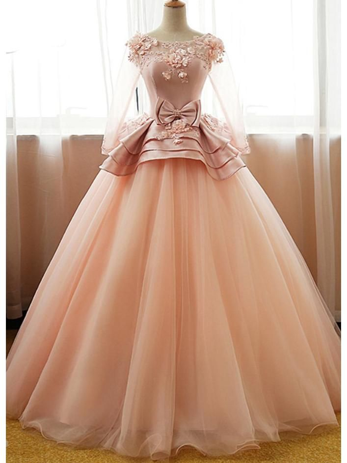 f3e8c657e30 3 4 Sleeve Applique Beaded Prom Dresses Peach Organza Princess Quinceanera  Ball Gowns - SheerGirl