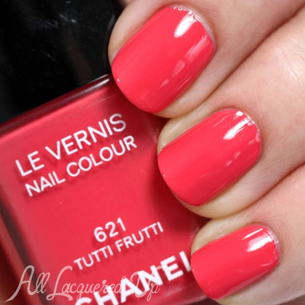 CHANEL Summer 2014 Nail Polish from Reflets D'Été de Chanel my go to coral nail color dries down to a pinky red Tutti Fruiti gorgeous!