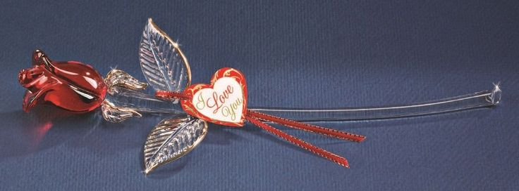 Glass Baron ~ Red Rose Long Stem ~ I Love You ~ New in Box