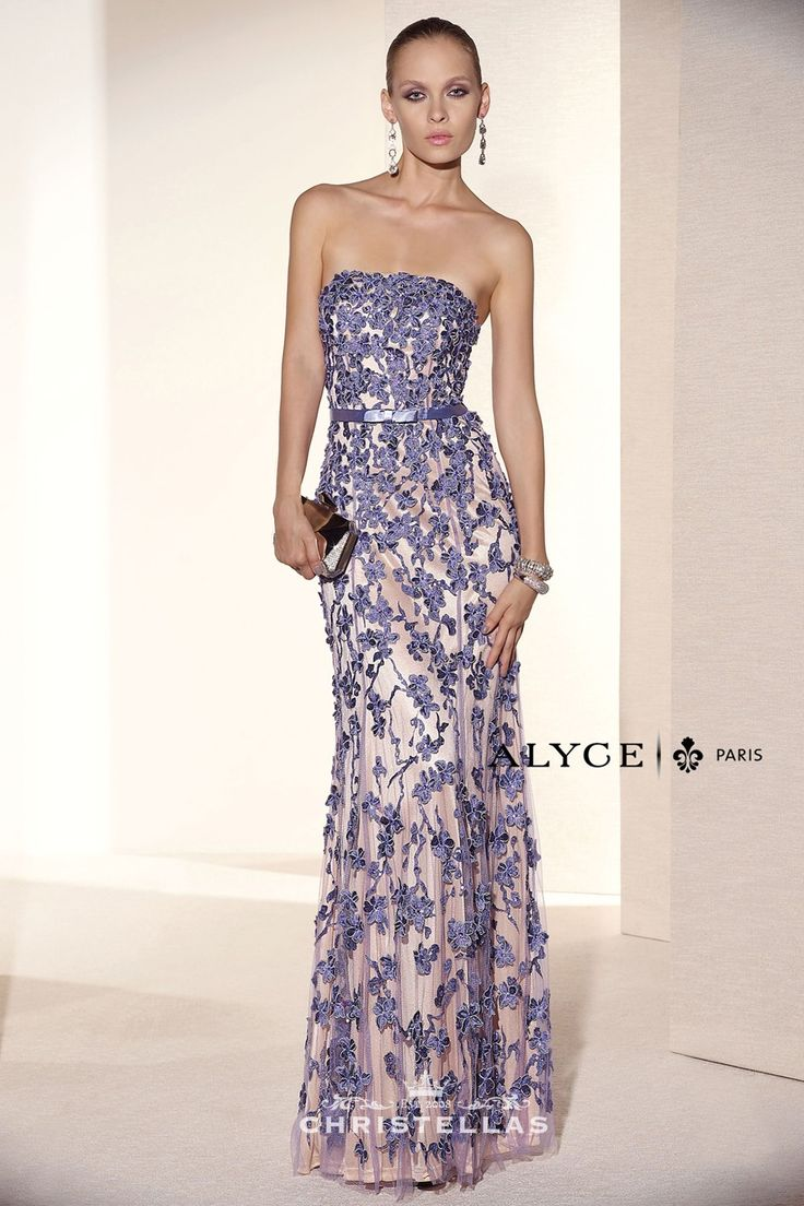 Soft, feminine and floral this strapless gown is sure to wow the crowd at your special occasion. Alyce 5675 Dress Black Label Collection / $798 - Shop the look at: www.christellas.com #prom #dresses #Alyce