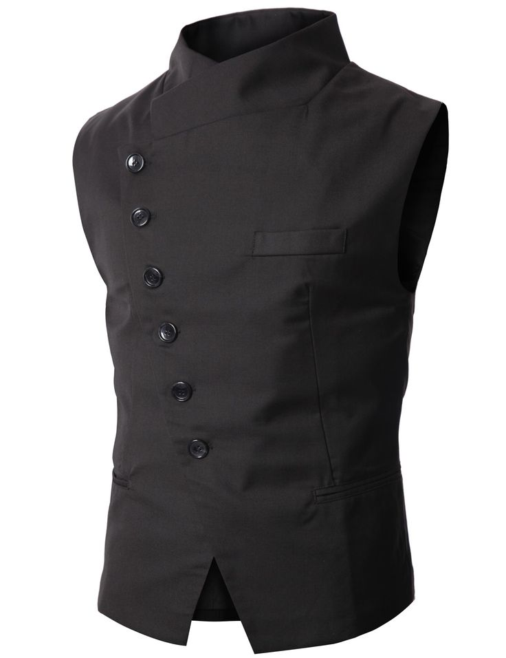 Stylish men's sleeveless vest--a bit of a mix between oriental, elegant, and post-modern if you ask me (love it)