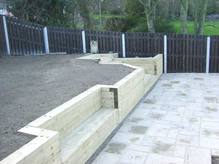 Magic garden's landscaping with railway sleepers
