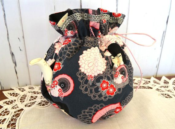 Japanese fabric tea cosy, Herbal Insulated cozy with asian doll and blossoms. 4 cup, 6 cup, 8 cup